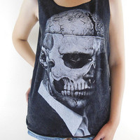 Zombie Boy Rick Genest -- Skull Tattoo Art Skull Zombie Boy Shirt Women Tank Top Tunic Sleeveless Black T-Shirt Bleached Shirt Size M