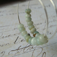 Amazonite Earrings, Amazonite Stone Earrings, Sterling Silver Hoop Earrings, Gemstone Earrings