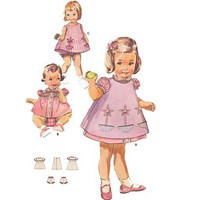Vintage Pinafore Dress  60s Sewing Pattern Girl's size 1 Butterick 9818