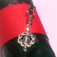 Smoky Czech Glass w/ Silver Tone Celtic Braid Phone / Purse Charm