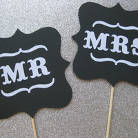 Mr and Mrs Wedding Signs Photo Booth Props by olivetreemonograms
