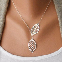 Jewelry silver leaves necklace chain necklace women necklace girls necklace metal necklace made of  alloy leaves pendant necklace XL-0706