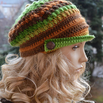 Crocheted beanie Slouchy Hat  PEAKED CAP Winter Fashion , very warm, women slouchy hat,Girls Hat,unique gifts