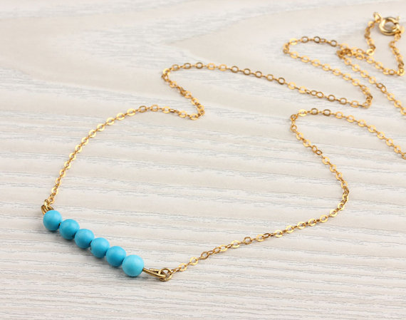 Turquoise gold necklace, vermeil necklace, gemstone necklace, beaded necklace, delicate necklace, howlite stone, &quot;Galene&quot; Necklace