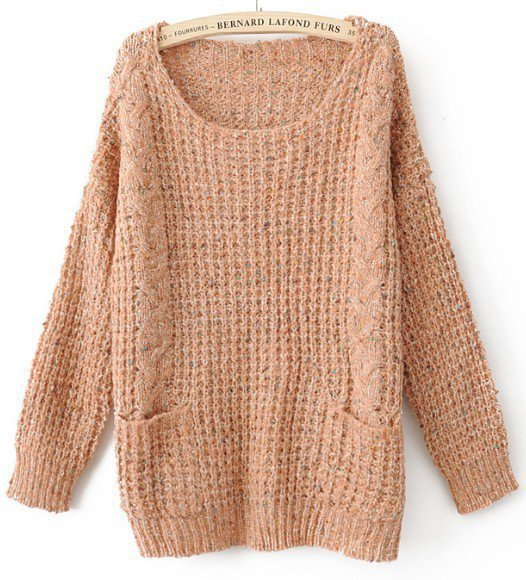 Pink Round Neck Long Sleeve Pockets Embellished Sweater - Sheinside.com