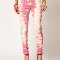 ASOS Skinny Jean In Over Bleached Pink at asos.com