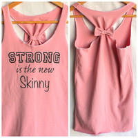 Pink Cotton Racerback Tank Strong is the new Skinny - Medium