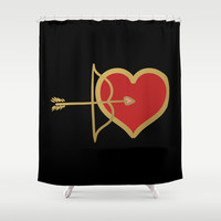 Cupid Bow and Heart (red) Shower Curtain by Lisa Argyropoulos
