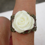 white rose ring, Adjustable Band