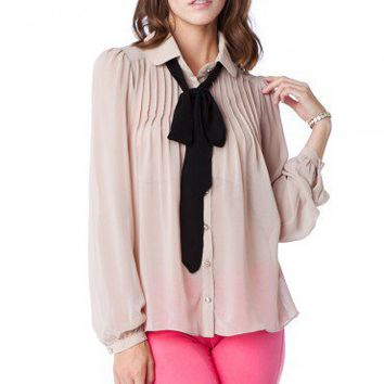 Lizzy Tie Blouse in Taupe - ShopSosie.com