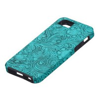Elegant Green Leather Look Floral Embossed Design Iphone 5 Case from Zazzle.com