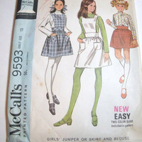Vintage Pattern McCalls 1968 girls size 12  jumper skirt blouse retro mod style