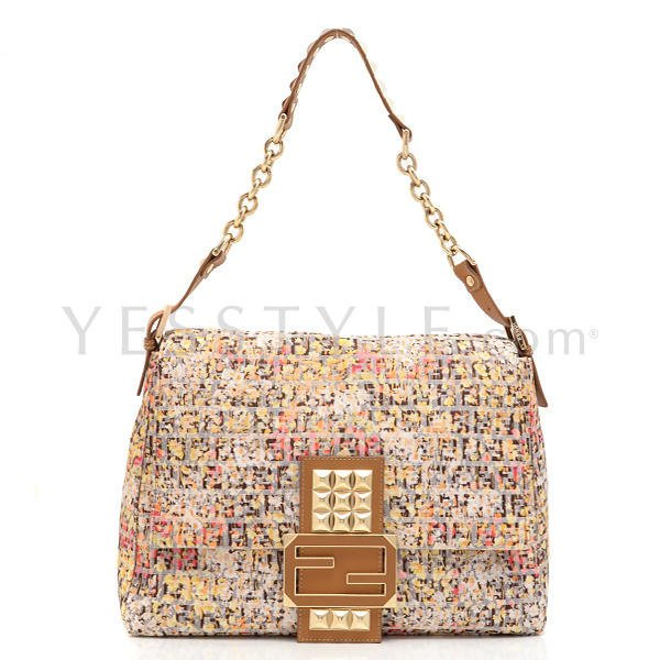 YESSTYLE: Fendi- Zucchino Big Mamma Shoulder Bag (Yellow / Peach / Pink) - Free International Shipping on orders over $150