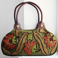 Purse - Earthy Green Purse Cotton Canvas Embroidered Olive Green Purse Handbag Leather Handles Bags and Purses Womens Boho Chic Bag