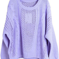 Purple Long Sleeve Hollow Loose Pullovers Sweater - Sheinside.com