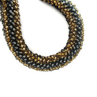 Black Cubic Right Angle Weave Bracelet Embellished with Gray and Gold