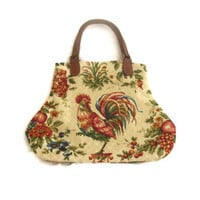 French Country Waverly Rooster Fabric Handbag Purse Red Yellow Blue Green Honey
