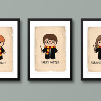 Harry Potter inspired wall art, kids wall art, Harry Potter, Hogwarts, Harry Potter print, Harry Potter art, Hermione Granger, Ron Weasely