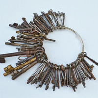 Collection of 100 Antique Keys in Steel and Brass by tandemstudios