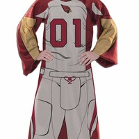 Arizona Cardinals Comfy Throw Blanket With Sleeves  Player Design