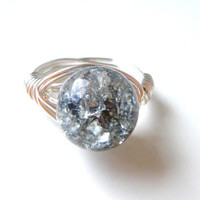 Gray Crackled Glass Wire Wrapped Ring ,Non tarnish