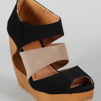 Qupid Lisbeth-15 Two Tone Strappy Cut Out Platform Wedge