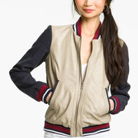 Collection B Faux Leather Baseball Jacket (Juniors) | Nordstrom