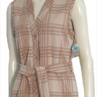 Dimension V Vintage Tan Plaid Vest 1970s