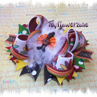 Thanksgiving Hair Bows - Fall Hair Bows- Turkey Hair Bows - Gobble Hair Bows - Thanksgiving Stacked Boutique Hair bows - Layered Hair bows