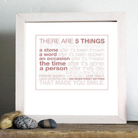 5 THiNGS typographic image inspirational quote by aetherstudio