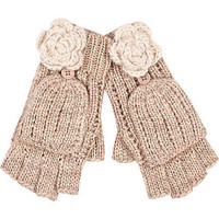 cream flower knitted mitten gloves