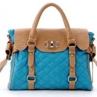 Blue Messenger Totes Bag With Bow$50.00