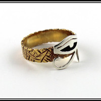 Ancient Egypt Eye of horus Ring Eye of ra silver and brass ring Size 5 6 7 8 9 10