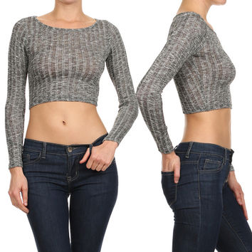 Sexy Peppered Ribbed Knit Round Neck Long Sleeve Cropped Light Sweater Top