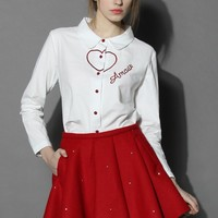 Red Hearted Cotton White Shirt