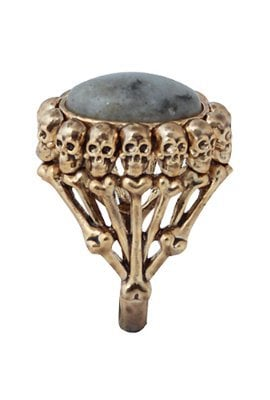 House of Harlow 1960 Antique Plated Oval Skull Ring with Labradorite
