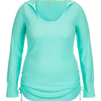 Plus Size - Cinched Side Thermal Pullover With Hood - Splash