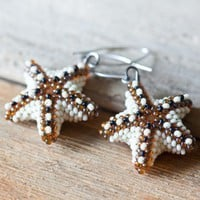Beadwoven Starfish Earrings