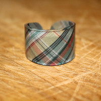 Rainbow Plaid Ring Choose Your Size by kaykreationsphoto on Etsy