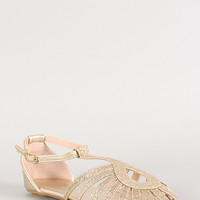 Metallic Glitter Cut Out Flat Sandal