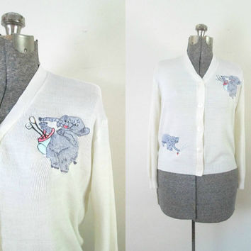 Vintage Embroidered White Cardigan / Purple Elephant Embroidery Golf Sweater