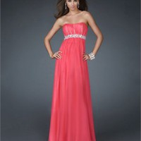 Elegant Chiffon Strapless Scoop Neckline Beaded Waist A-line Floor Length Prom Dress PD2112 Dresses UK