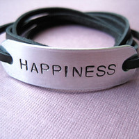 Personalized Wrap Bracelet - HAPPINESS - Black Leather