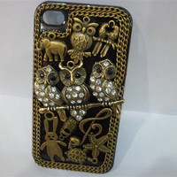 Custom Handmade Vintage iPhone Case/ Antique Accessories Stuffs Deco for iPhone 4 Case/ iPhone 4S Case Owl Theme