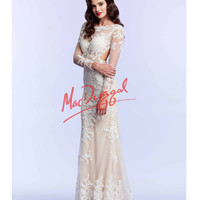 Mac Duggal Long Sleeve Lace Open Back Ivory Gown Prom 2015