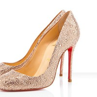 Christian Louboutin - Fifi strass, light peach, pumps, crystal, evening, bridal, womens shoes