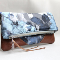 Fold over clutch, leather clutch