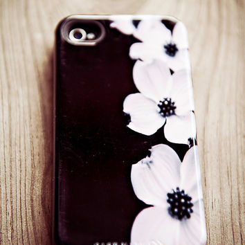 iPhone 5 Case - Cascade - iPhone black and white case  -  dogwood flower print, feminine, hard case