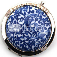 Blue and White Porcelain Handwork Make Up Mirror -  Milanoo.com