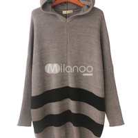 Sweet Acrylic Stripe Pattern Women's Loose Hoodi Sweater Dress -  Milanoo.com